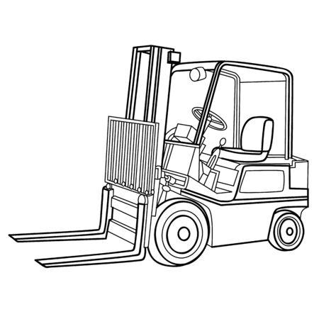forklift sketch, coloring book, illustration on white background, vector illustration, eps Ilustração