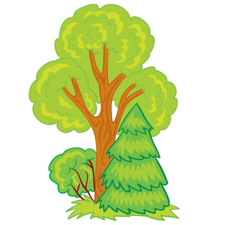 part of the forest from a tree of a Christmas tree and bush, cartoon illustration, illustration on a white background, vector illustration, eps