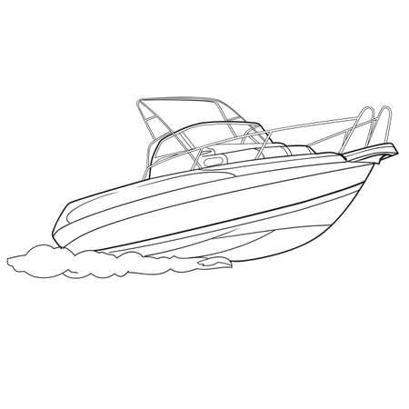 motor boat sketch and coloring illustration on white background. vector illustration Çizim