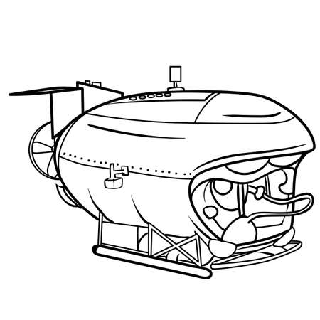 submarine sketch, coloring, isolated object on a white background, vector illustration, eps