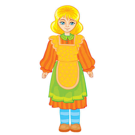 girl in apron and in old clothes cartoon illustration. isolated object on a white background.