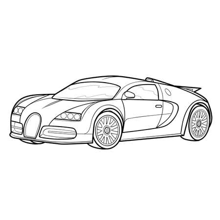 car sketch, coloring, isolated object on a white background. vector illustration Stock Illustratie