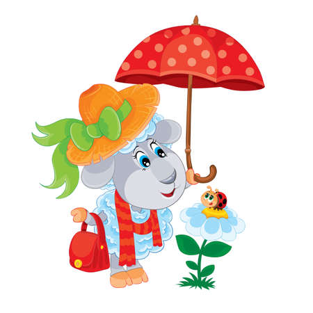 character of a cute sheep in a hat and with an umbrella, a sheep admiring a ladybug, isolated object on a white background, vector illustration, eps