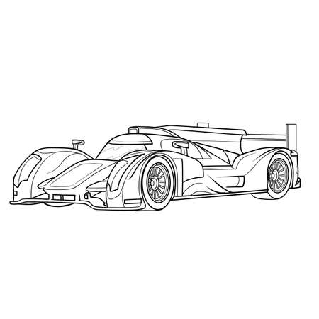 racing car sketch isolated object on white background. Stock Illustratie