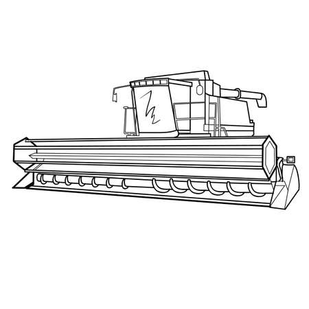 sketch harvester, coloring book, isolated object on white background, vector illustration,