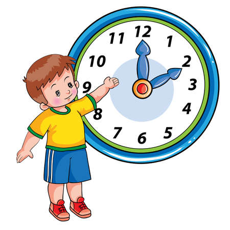 boy stands next to a large clock and shows it with his hand, the clock is two o'clock, cartoon illustration, isolated object on a white background, vector illustration, eps