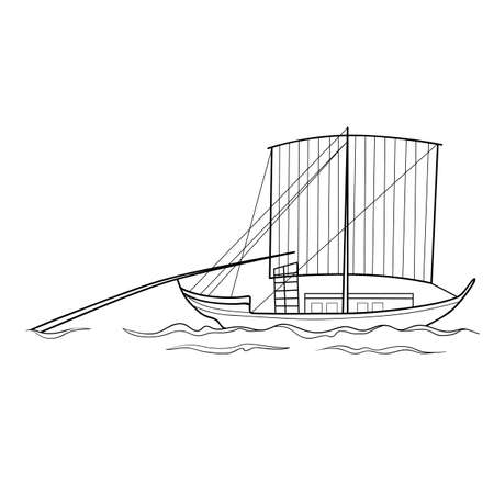sketch of an old chinese boat, coloring, isolated object on white background, vector illustration, eps