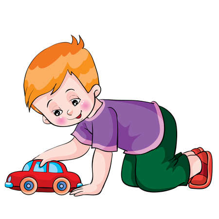 boy plays with a toy car, cartoon illustration, isolated object on a fir tree background, vector illustration