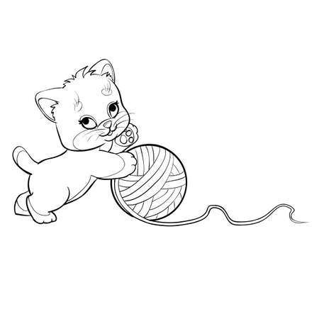sketch of a cute kitten who plays with a big ball of thread, coloring book, cartoon illustration, isolated object on a fir tree background, vector illustration