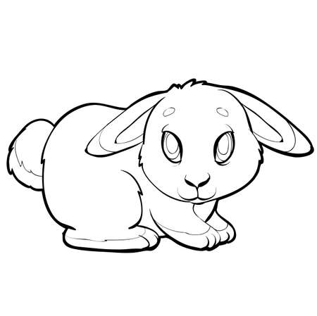 cute rabbit sketch, coloring, on a white background, vector illustration  イラスト・ベクター素材