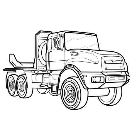 sketch of a big truck, coloring, isolated object on a white background, vector illustration