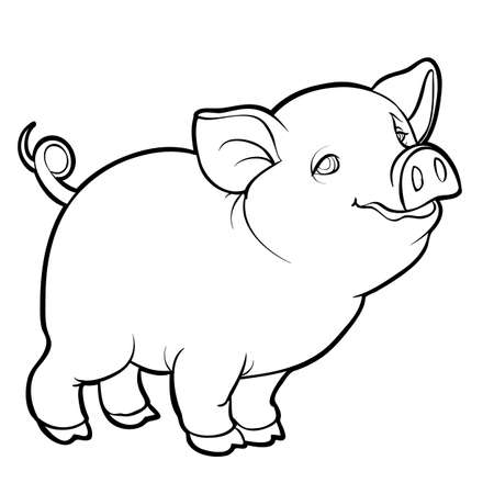 cute little pig character, sketch, coloring, isolated object on white background, vector illustration