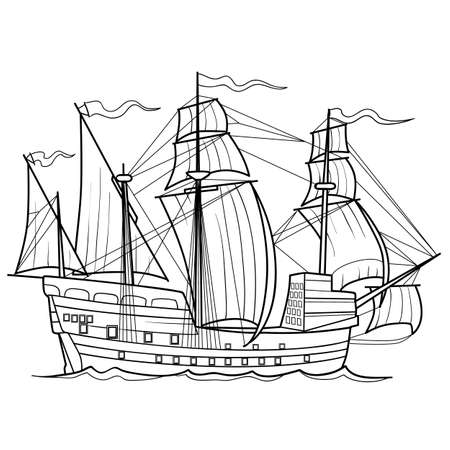 sketch of a sailboat, ship, coloring book, isolated object on a white background, vector illustration
