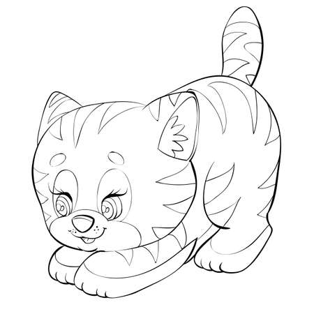 cute striped kitten sketch, cartoon illustration, isolated object on white background, vector illustration  イラスト・ベクター素材