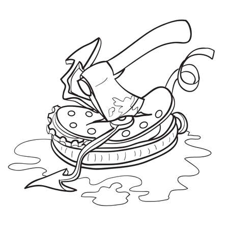 sketch of the ax that breaks the clock, cartoon, isolated object on a white background, vector illustration