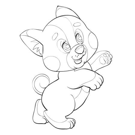 sketch of a cute puppy, cartoon illustration, isolated object on a white background, vector illustration