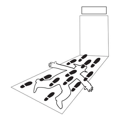 silhouette of a man lies on the trampled road, caricature, vector illustration  イラスト・ベクター素材