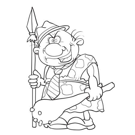 sketch of a man in a skinned hat and with a baton and a spear in his hands, cartoon, isolated object on a white background, vector illustration