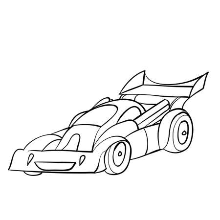 racing car sketch, ship, coloring book, isolated object on white background, vector illustration  イラスト・ベクター素材