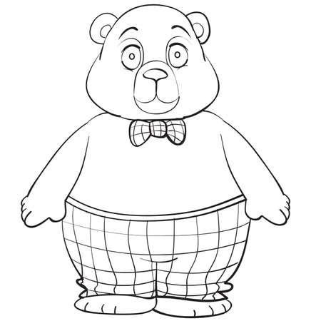 sketch of an intelligent bear wearing a shirt and plaid pants, coloring book, cartoon illustration, isolated object on a white background, vector illustration 矢量图像