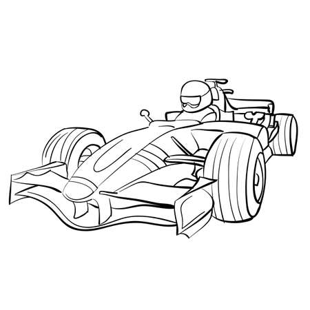 racing car sketch, ship, coloring book, isolated object on white background, vector illustration Illustration