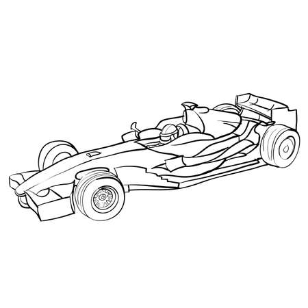 racing car sketch, ship, coloring book, isolated object on white background, vector illustration,