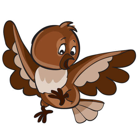 frightened bird with spread wings, cartoon illustration, isolated object on a white background, vector illustration, eps