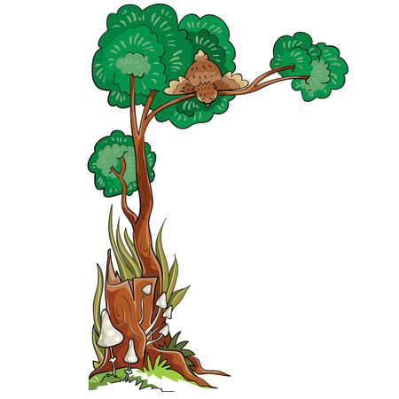 next to an old stump a tree grows in the crown of which a bird sits and looks down, cartoon illustration, isolated object on a white background, vector illustration