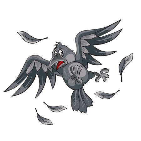 crow scared and flies away scattering feathers, cartoon illustration, isolated object on a white background, vector illustration