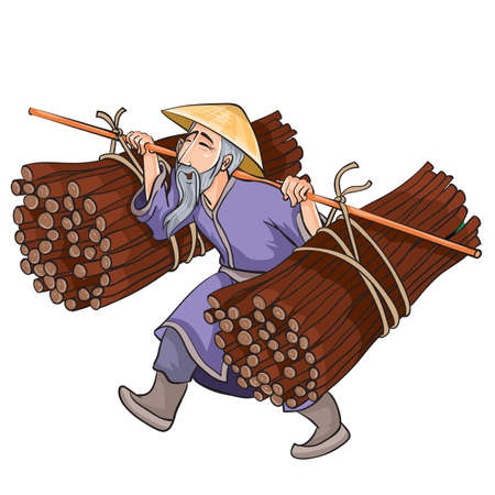 Chinese peasant in a wide hat carries on his shoulders bales of brushwood, cartoon illustration, isolated object on a white background, vector illustration