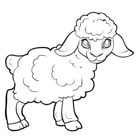 lamb sketch, coloring book, cartoon illustration, isolated object on white background, vector illustration, eps  イラスト・ベクター素材