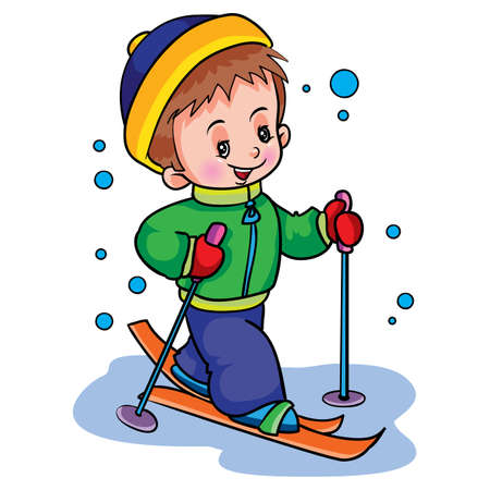 boy in winter skiing, weekend, isolated object on white background, vector illustration, eps  イラスト・ベクター素材