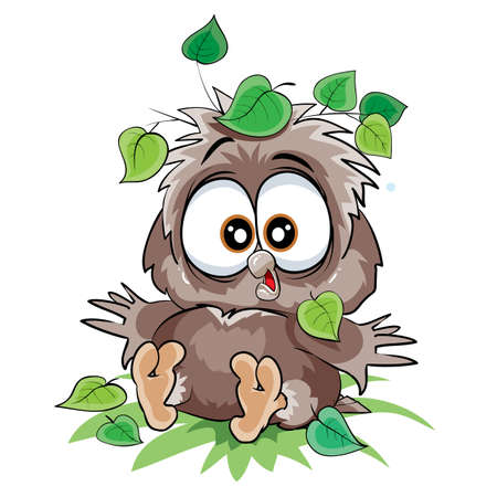 cute owlet sitting on the ground under a leaf from a tree, fell, cartoon illustration, isolated object on a white background, vector illustration, eps