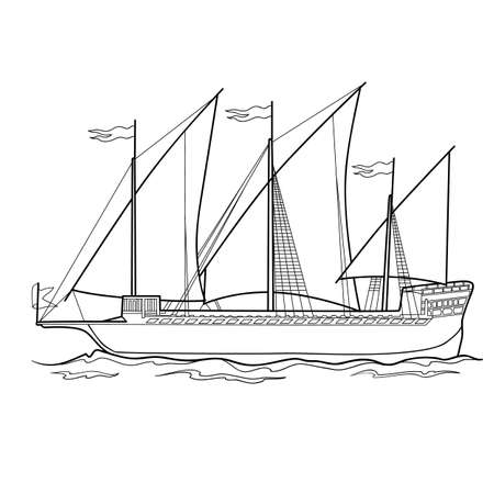 sketch of an old ship, coloring book, isolated object on white, vector illustration, eps