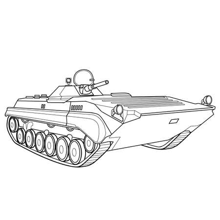 military equipment sketch, coloring book, isolated object on white, vector illustration, eps  イラスト・ベクター素材