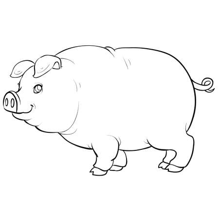 pig sketch, coloring book, isolated object on white, vector illustration, eps