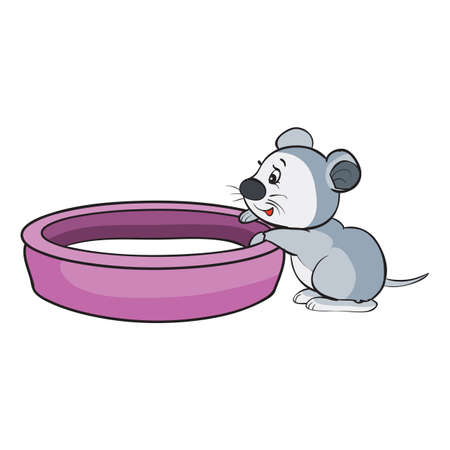 a small gray mouse sits next to a large bowl in which milk is poured, cartoon illustration, isolated object on a white background, vector illustration, eps