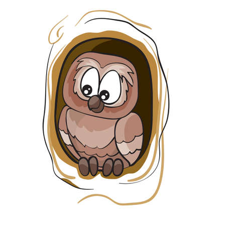 owl sitting in a hollow tree, cartoon illustration, isolated object on a white background, vector illustration, eps