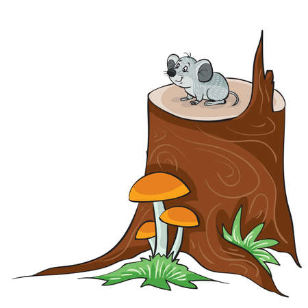 little gray mouse sitting on a big stump next to which mushrooms grow, cartoon illustration, isolated object on a white background, vector illustration, eps