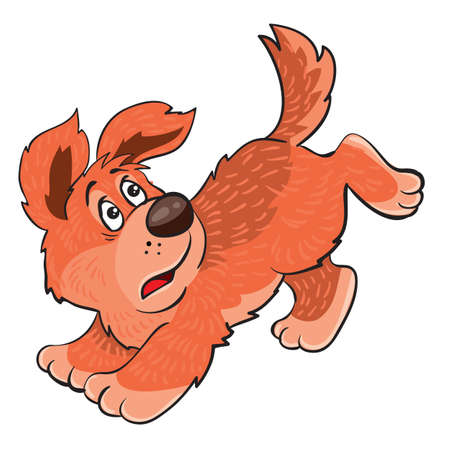 ginger dog running away from someone scared, cartoon illustration, isolated object on a white background, vector illustration, eps