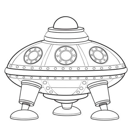 flying saucer sketch, coloring book, cartoon illustration, vector illustration, isolated object on white background, eps