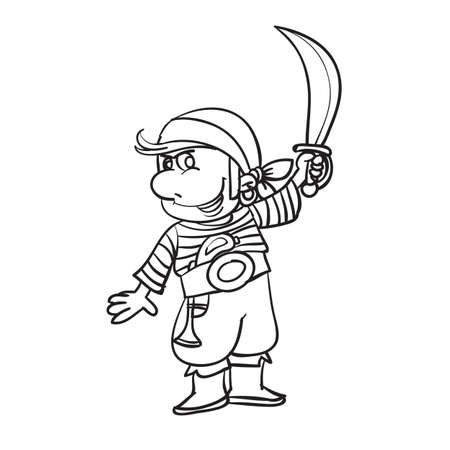 sketch of a pirate who holds a large knife in his hand, coloring, illustration cartoon, vector illustration, eps