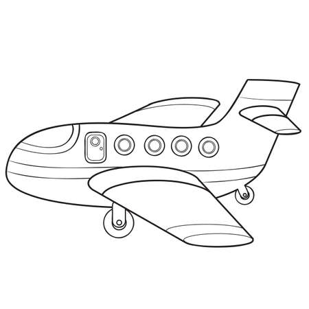 plane sketch, coloring book, cartoon illustration, vector illustration, isolated object on white background, eps