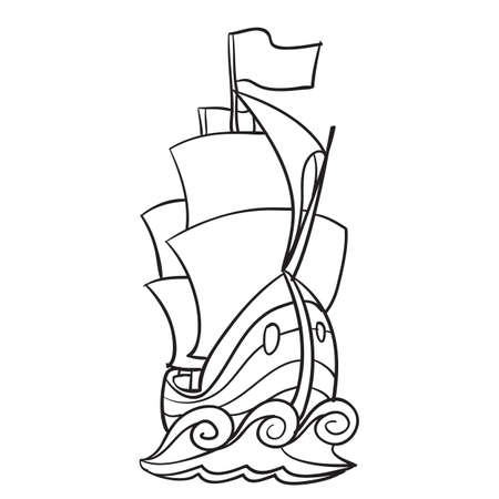 sketch of a sailboat, ship, coloring book, isolated object on a white background, vector illustration, eps
