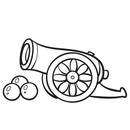sketch of weapons guns and cannonballs, coloring book, cartoon illustration, vector illustration, eps
