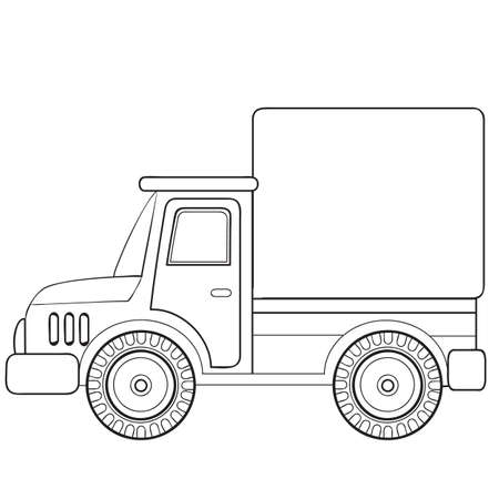 truck sketch, coloring book, cartoon illustration, vector illustration, isolated object on white background, eps  イラスト・ベクター素材