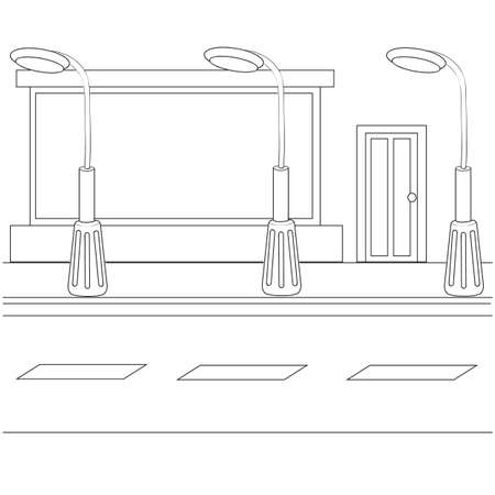 street sketch with lanterns and a shop window, coloring book, cartoon illustration, vector illustration, isolated object on a white background, eps  イラスト・ベクター素材