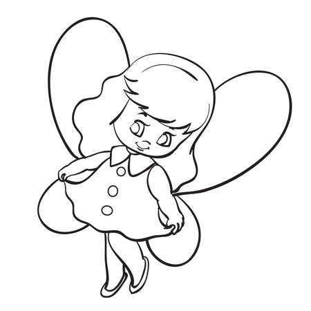 sketch of a fairy with wings, cute girl, coloring book, cartoon illustration, vector illustration, isolated object on a white background, eps  イラスト・ベクター素材