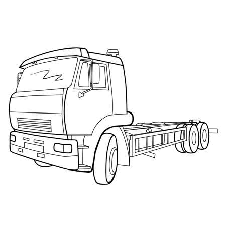 sketch of a truck, coloring book, isolated object on white background, vector illustration, eps