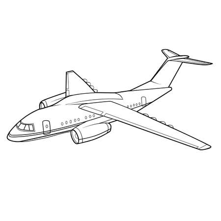plane sketch, coloring book, isolated object on white background, vector illustration, eps
